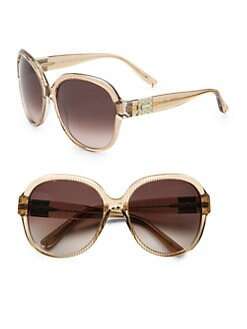 Chloe - Rounded Acetate Striped Sunglasses