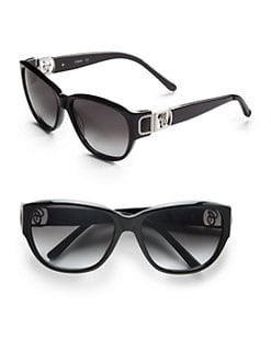 Chloe - Wayfarer Leather & Acetate Sunglasses/Black