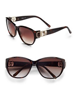 Chloe - Wayfarer Leather & Acetate Sunglasses/Brown