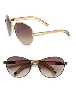 Chloe - Curved Metal & Acetate Aviator Sunglasses/Beige