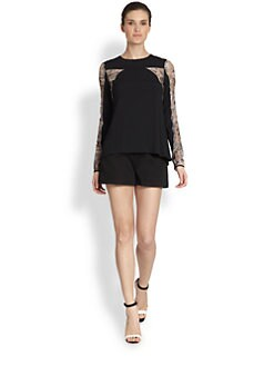 Philosophy - Sheer-Sleeve Cutout Sable Top