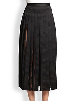 Adam Lippes - Pleated Satin & Lace Skirt