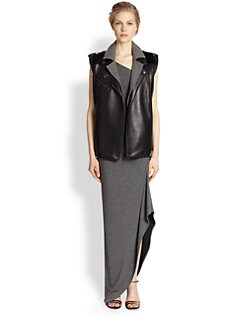 Veronica Beard - Neoprene-Paneled Leather Vest