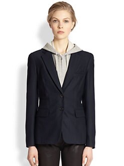 Veronica Beard - Hoodie-Insert Stretch Wool Blazer