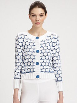 Philosophy - Cotton Circle-Patterned Open-Weave Sweater