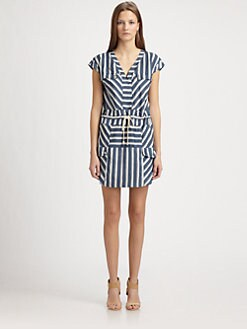Veronica Beard - Woven Silk Striped Dress