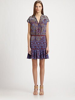 Veronica Beard - Woven Silk Peasant Dress