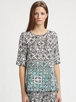 Veronica Beard - Woven Silk Arrow-Print Top