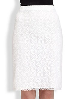 Philosophy - Circle Mesh-Overlay Cotton-Blend Skirt