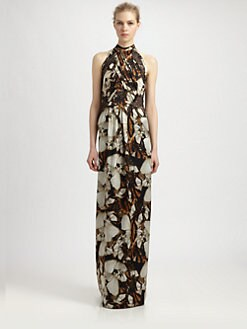 Philosophy - Printed Silk Lace-Trimmed Gown