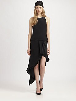 Philosophy - Silk Ruffle-Skirt Dress