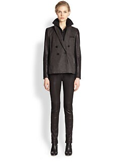 Veronica Beard - Scuba-Insert Leather-Sleeved Tweed Blazer