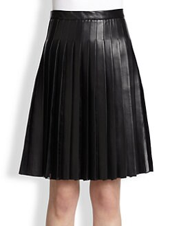 Adam Lippes - Leather & Silk Pleated Skirt