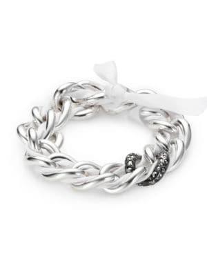 POMELLATO Marcasite & Sterling Silver Woven Chain Link Bracelet