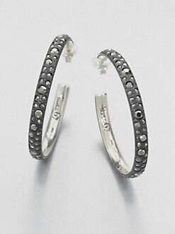 Pomellato 67 - Marcasite Sterling Silver Hoop Earrings/Large