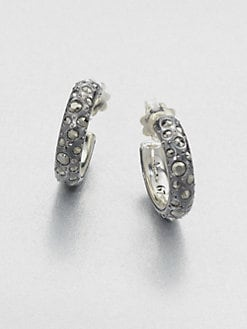 Pomellato 67 - Marcasite Sterling Silver Hoop Earrings/Small