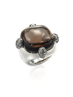Pomellato 67 - Sterling Silver Cabochon Ring/Marcasite Prongs