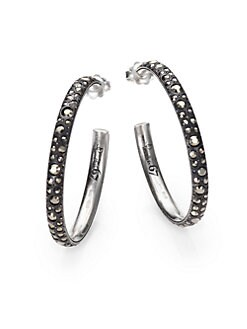 Pomellato 67 - Marcasite & Sterling Silver Large Tango Hoop Earrings