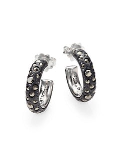 Pomellato 67 - Marcasite & Sterling Silver Small Hoop Earrings
