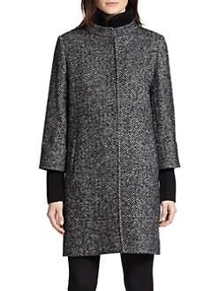 Cinzia Rocca - Tweed Knit-Trim Walking Coat