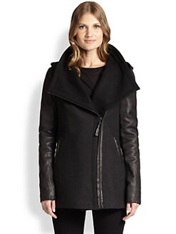 Mackage - Leather-Contrast Knit Coat