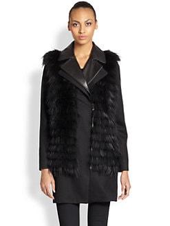 Ashley B - Convertible Fur-Vest Wool Coat