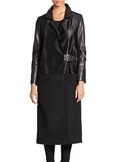 Ashley B - Calf Hair & Wool Leather-Trim Coat