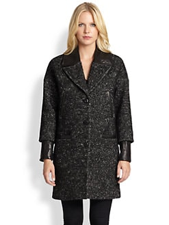 Mackage - Boucle Leather-Detail Cocoon Coat
