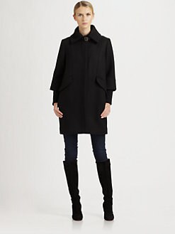 Cole Haan - Wool/Twill Cocoon Coat