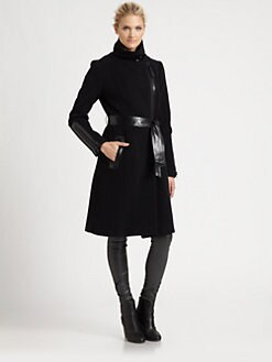 Mackage - Leather-Exposed Zipper Coat