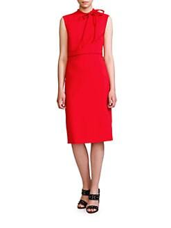 Valentino - Tie-Neck Wool Dress