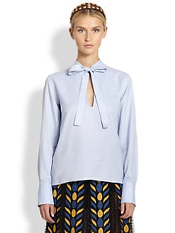 Valentino - Cotton Tie-Front Blouse