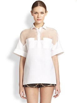 Valentino - Oversized Silk & Cotton Blouse