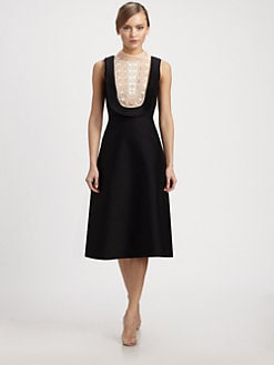 Valentino - Embroidered Bib Dress