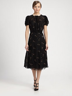 Valentino - Beaded Cap-Sleeve Dress