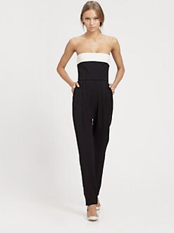Valentino - Strapless Bow-Back Silk Jumpsuit