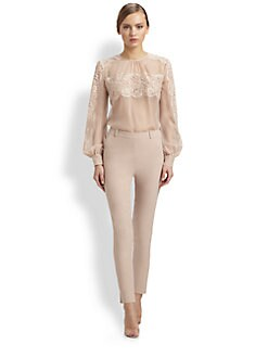 Valentino - Lace-Trimmed Silk Blouse