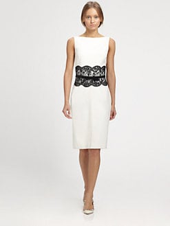 Valentino - Lace-Trimmed Dress