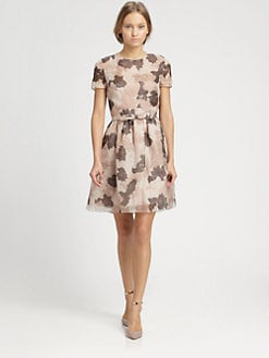 Valentino - Printed Silk Organza Dress