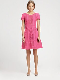 Valentino - Short-Sleeve Guipure Dress