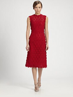 Valentino - Rose Guipure Lace Dress