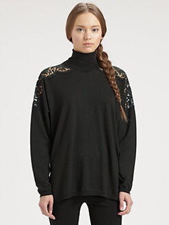 Valentino - Lace-Trimmed Turtleneck