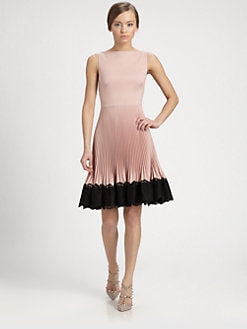 Valentino - Lace-Trimmed Techno Couture Plissé Dress
