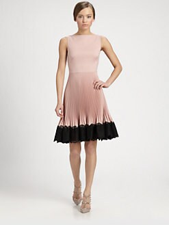 Valentino - Lace-Trimmed Techno Couture Pliss&eacute; Dress