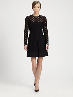 Valentino - Guipure Lace-Trimmed Dress