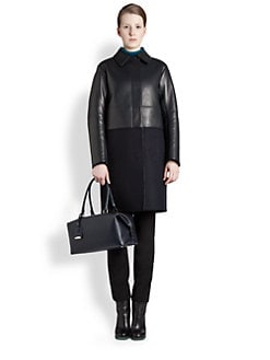 Jil Sander - Leather & Felt Paneled Coat
