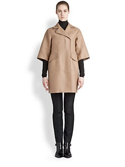Jil Sander - Short-Sleeve Camel Blend Coat