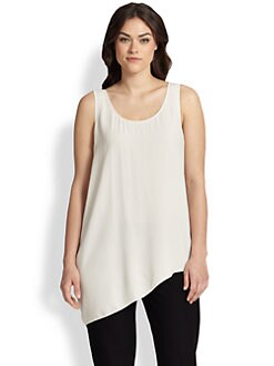 Eileen Fisher, Sizes 14-24 - Silk Georgette Draped Shell