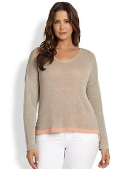 Eileen Fisher, Sizes 14-24 - Linen Open-Weave Top