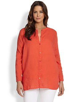 Eileen Fisher, Sizes 14-24 - Mandarin-Collar Linen Tunic
